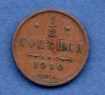 Russie - 1/2 Kopek 1910   -- Km # 48.1 - état TTB - Russie