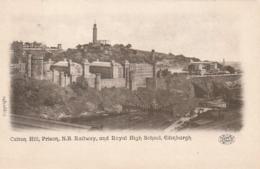 ***  Scotland  ***  Calton Hill Pison N B Rallway And Royal Hight School  EDINBURG  -- Unused TTBE - Midlothian/ Edinburgh