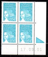 Col12   France Variete Coin Daté N° 3455 / 3434 Luquet  17 09 01 Barre Pho Brisées  Neuf XX MNH Luxe - Coins Datés
