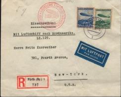 Germany - Air Mail, DEUTSCHE LUFTPOST EUROPA SÜDAMERIKA (Mi.606-607) MiF Brief, Fürth 9.5.1936 To New York, USA. - Germany