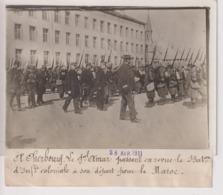 A CHERBOURG LE GAL AMAR REVUE INFANTERIE COLONIALE DEPART MAROC MOROCCO 18*13CM Maurice-Louis BRANGER PARÍS (1874-1950) - Guerra, Militares