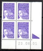 Col12   France Variete Coin Daté N° 3457 / 3436 Luquet  23 08 01 Barre Pho Brisées  Neuf XX MNH Luxe - 2000-2009