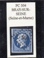 Seine-et-Marne - N° 14A Obl PC 504 Bray-sur-Seine - 1853-1860 Napoléon III