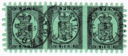1866/74  8P Schwarz Auf Grün Roulette III Dreier Streiffen Mit Stempel  WIborg, Zwei Kurze Zähne - 1856-1917 Russian Government