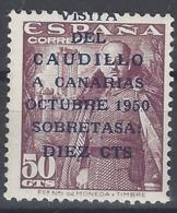 España 1088 ** Visita Del Caudillo A Canarias. 1951. Impresion Desplazada - 1951-60 Nuevos & Fijasellos