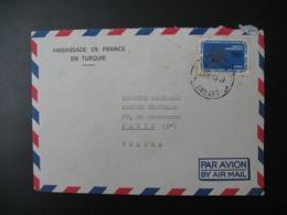 Enveloppe  Turquie 1970  Ambassade De France En  Turquie  Pour La Sté Générale En France, Bd Haussmann Paris 9 - 1921-... République