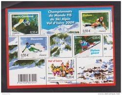 """FRANCE / 2009 / Y&T N° 4329/4333 ** Bloc Ou F4329 ** (Feuillet """"Championnat Monde De Ski à Val D'Isère"""") X 1 - Mint/Hinged"""