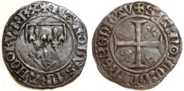 FRANCE - Charles VI [1380-1422] - Blanc Guénar - Rouen (point 15e) 2e émission (Dup. 377A ; 3,10 G) - 1380-1422 Charles VI. Le Fol