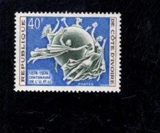 1974 SCOTT 385 POSTFRIS MINT NEVER HINGED EINWANDFREI (XX) UPU CENTENAIRE - Côte D'Ivoire (1960-...)
