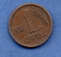 Lituanie  -  1 Centas  1936   -- Km # 79 - état TTB - Lituanie