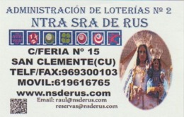 Calendario Bolsillo Admon. Loterias Ntra. Sra. De Rus 2015 Pocket Calendar Kalender Calendrier Kalendar - Tamaño Pequeño : 2001-...