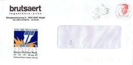"""Flamme """"Gent Herleeft"""" Sur Lettre De Brutsaert Ingenieurs Pvba Du 5/10/1987 + Autocollant Belgian Welding Week - Postmark Collection"""