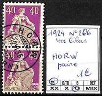 [840816]TB//O/Used-Suisse 1924 - N° 206, 40c Lilas HORW Paire - Switzerland