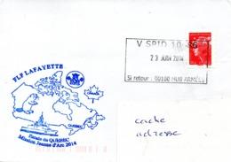 FREGATE FLF LAFAYETTE Mission Jeanne D'Arc 2014 Escale à Quebec Obl. V SPID 10486 23/06/14 - Postmark Collection (Covers)