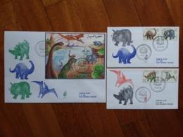 SOMALIA 1993 - Dinosauri Serie + BF Su F.D.C. Venetia Viaggiate - Annullo Arrivo + Spese Postali - Somalie (1960-...)