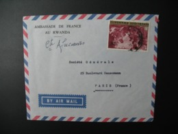 Enveloppe Rwanda  Ambassade De France Au Rwanda    Pour La Sté Générale En France Bd HaussmannParis - Rwanda