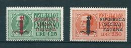 1944 RSI ESPRESSO Soprastampato Fascio SERIE COMPLETA NUOVO - 4. 1944-45 Repubblica Sociale