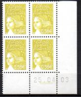 Col12   France Coin Daté N° 3570 / 3552  Luquet  25 04 03  Neuf XX MNH Luxe - 2000-2009