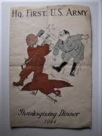 MILITARIA - Hq. First U.S. Army - Thanksgiving Dinner 1944 - 20 X 13 Cm. - Documenti