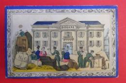 1867 RARE Carton  Illustré Par L.Villeneuve Douane La Fouille Douaniers Jeux Du Cheval Blanc Coqueret  17.5 X 11.4 Cm - Vieux Papiers