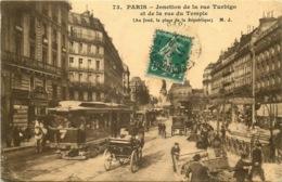 PARIS  3eme Arrondissement   Jonction De La Rue Turbigo Et Du Temple  TRAMWAY - Paris (03)