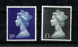 Ref 1328 - GB MNH - Machin High Values Sterling 10/= & £1 Stamps - 1952-.... (Elizabeth II)