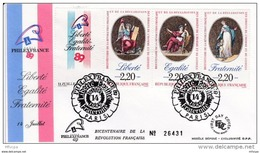 L4L129 France 1989 FDC PhilexFrance Liberté Egalité Fraternité Paris 14 07 1989 / Env  Ill. - FDC