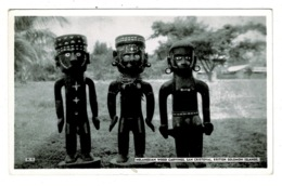 Ref 1328 - Real Photo Postcard - Wood Carvings San Cristoval - British Solomon Islands - Solomon Islands