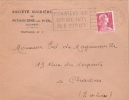 """Pithiviers (Loiret)  : Flamme De Propagande """" ...Miel / Gâteaux-Pâtés / Pain D'épices"""". """". Sur Env. De La Sté Sucrière . - Oblitérations Mécaniques (flammes)"""