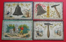 1867 4 Cartons  Illustrés Par L.Villeneuve Cloche Charron Menuisier Marin  Jeux Du Cheval Blanc Coqueret  17.5 X 11.4 Cm - Vieux Papiers
