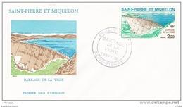 L4N198 SAINT-PIERRE ET MIQUELON 1976  FDC Barrage De La Vigie 2,20f Saint-Pierre 07 09 1976 / Envel.  Illus. - FDC