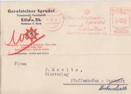CP Pré-imprimée (Sprudel) Obl. EMA (Gerolsteiner Spudel) Köln 1, 6 Pf Le 11/10/41 Pour Pfaffenhoffen - Allemagne