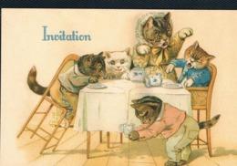 Chats Humanisé-dressed Cats -katzen - Poezen Aan Tafel- Repro - Katten