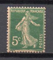 - FRANCE N° 137j Neuf ** MNH - 5 C. Vert Semeuse Camée 1907 - PAPIER GC, Type IIA - Cote 18,50 EUR - - 1906-38 Semeuse Camée