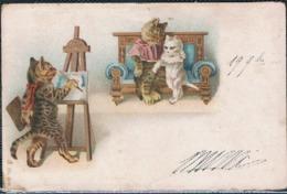 Chats Humanisé-dressed Cats -katzen - Poezen Portretschilder - Katten