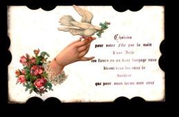 Carte De Voeux Avec Decoupis Main Oiseau Et Fleurs - Vieux Papiers