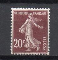 - FRANCE N° 139b Neuf ** MNH - 20 C. Brun Très Foncé Semeuse Camée 1907, Type I - Cote 15 EUR - - 1906-38 Semeuse Camée