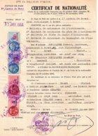 Certificat De Nationalité, Brest 1950, 4 Timbres Fiscaux De 3, 4, 20 Et 50 Francs - Old Paper