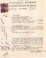 Contrat D'affichage Acher, Le Havre, 1960 2 Timbres Orangé De 120 Francs - Vieux Papiers