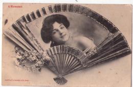 5524 - Cp Fantaisies - L'Eventail - Phototyp. A. Bergeret & Cie à Nancy - - Women
