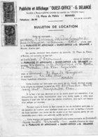 Bulletin De Location Publicité-affichage Ouest-Office, G. Delanoë, 1953,  2 Timbres Fiscaux Bleu 80 Francs & 70 Francs - Vieux Papiers