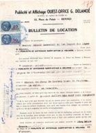 Bulletin De Location Publicité-affichage Ouest-Office, G. Delanoë, 1950,  2 Timbres Fiscaux Bleu 50 Francs & 20 Francs - Vieux Papiers