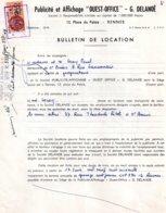 Bulletin De Location Publicité-affichage Ouest-Office, G. Delanoë, 1959,  1 Timbre Fiscal De 240 Francs - Vieux Papiers