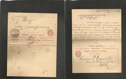 Switzerland - Stationery. 1892 (7 Jan) Bale - Belgium, Liege (9 Jan) Doble 10c Red Stat Card Used On Way Out. XF Comerci - Switzerland