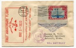 RC 13683 USA 1930 DETROIT - CLEVELAND ANNIVERSARY FLIGHT 1er VOL FFC - 1c. 1918-1940 Briefe U. Dokumente
