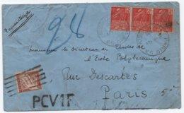 PNEUMATIQUE Enveloppe Bande De Trois FACHI PARIS PCV1F Oblitération BARRES (PNEU)  / TAXE Banderole 1932 RRR - Strafport