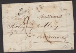 GIRONDE: Pli De LA HUME De 1847 En Port Du Avec Sans CàD + Cursive 32 Gujan  > BORDEAUX - Marcophilie (Lettres)