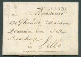 LAC D'AMSTERDAM  Le 6 Septmebre 1802  + Griffe Noire HOLLANDE Vers Lille; Port De '7' Décimes. - 14598 - 1794-1814 (French Period)