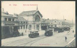 C.P. Neuve LIEGE La Gare Des Guillemins + Tram Et Animation Septembre 1907 - 14601 - Liege
