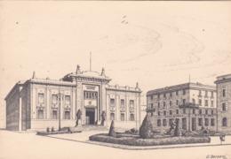 CARTOLINA - BERGAMO - PIAZZA DANTE E PALAZZO DI GIUSTIZIA -  ILLUSTRATA DA O. BORSANI - Bergamo